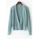 Casual Plunge V-Neck Single breasted Long Sleeve Plain Cardigan