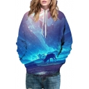 Landscape Animal 3D Printed Long Sleeve Drawstring Hoodie