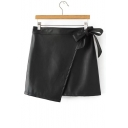 Fashion Women's Bow Detail Plain PU Asymmetric Skirt