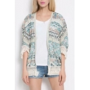 Tribal Printed 3/4 Sleeve Tassel Hem Casual Holiday Kimono Top