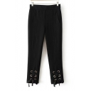 Fashion Grommet Lace-Up Hem Basic Simple Plain Leisure Tapered Pants