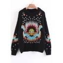 New Arrival Chic Embroidered Long Sleeve Round Neck Pullover Sweater