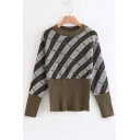 Fashion Color Block Plaids Pattern Round Neck Long Sleeve Sweater
