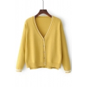 V Neck Long Sleeve Fashion Color Block Buttons Down Cardigan