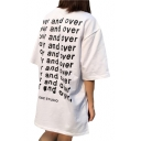Summer's Casual Oversize Chic Letter Pattern Round Neck Short Sleeve Tunic Tee
