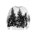 Chic Digital Snow Field Trees Pattern Round Neck Long Sleeve Sweatshirt