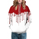 Fashion Digital Blood Printed Casual Leisure Hoodie for Couple