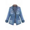 New Collection Retro Ripped Out Stand-Up Collar Denim Jacket