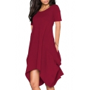 New Trendy Round Neck Short Sleeve Plain Midi Asymmetrical Dress with Pockets