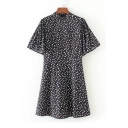Women's Polka Dots Printed Short Sleeve Half High Neck Mini Dress