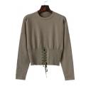 Elastic Round Neck Long Sleeve Plain Sweater