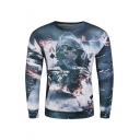 New Fashion Digital Skull Card Pattern Round Neck Long Sleeve Pullover Sweatshirt