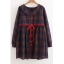 Women's Lapel Long Sleeve Button Down Plaid Color Block Mini Shirt Dress