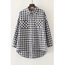 Casual Lapel Long Sleeve Single Breasted High Low Hem Plaid Tunic Shirt with Pockets