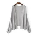 Fashion Lantern Long Sleeve Open Front Plain Simple Cardigan