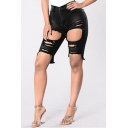 Fashion Cutout Ripped Asymmetric Hem Plain Denim Shorts