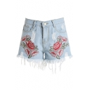 Embroidery Floral Pattern Fringe Hem Ripped Mid Waist Denim Shorts