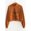 Fresh Half High Neck Graphic Printed Long Sleeve Cropped Pullover Sweatshirt