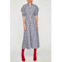 Chic Striped Pattern Lapel Collar Long Sleeve Buttons Down Maxi Shirt Dress