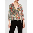 Chic Floral Striped Pattern V Neck 3/4 Sleeve Tied Side Pullover Blouse