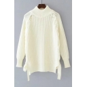 Chic Tied Up Side Mock Neck Long Sleeve Simple Plain Pullover Sweater