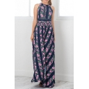 Fashion Floral Striped Printed Cutout Tied Back Sleeveless Split Front Maxi Dress