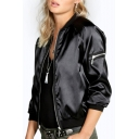 Hot Fashion Leather PU Plain Long Sleeve Zip Up Jacket