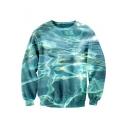 Beautiful Water 3D Printed Long Sleeve Round Neck Pullover Sweatshirt