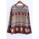 New Arrival Vintage Chic Crochet Color Block Round Neck Long Sleeve Sweater