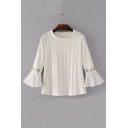 Embroidery Floral Long Sleeve Chiffon Patchwork Round Neck Pullover Sweater