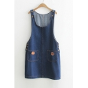 Lovely Cartoon Bear Pockets Scoop Neck Sleeveless Shift Denim Overall Dress