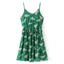 Cute Cartoon Parrot Printed Spaghetti Straps Sleeveless Mini Cami Dress