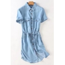 Summer Drawstring Waist Lapel Short Sleeve Single Breasted Midi Denim Dress