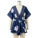 Sexy Plunge V-Neck Short Sleeve Cutout V-Back Floral Printed Rompers