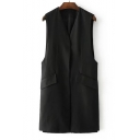 New Arrival Fashion Buttons Embellished Back V Neck Sleeveless Plain Vest Coat
