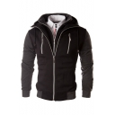Men's Drawstring Hooded Zipper Placket Long Sleeve False Two Pieces Hoodie