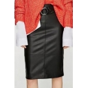 Women's Belt Waist Plain Midi PU Pencil Skirt