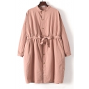 Stand-Up Collar Long Sleeve Drawstring Waist Single Breasted Plain Tunic Coat