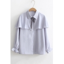 Chic Ruffle Hem Bow Tie Collar Long Sleeve Basic Plain Buttons Down Shirt