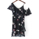 Asymmetrical Cold Shoulder Short Sleeve Fashion Floral Pattern Midi Dress