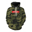 Fashion 3D Camouflage Pattern Long Sleeve Letter Print Hoodie