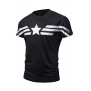 Casual Sports Fashion Printed Short Sleeve Round Neck Body Building T-Shirt