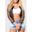 Chic Sheer Mesh Floral Embroidered Long Sleeve Zip Up Baseball Jacket