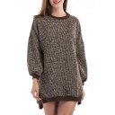 New Arrival Fashion Color Block Loose Leisure Round Neck Tunic Sweater