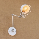 Vintage Swing Arm Wall Sconce with Bowl Shade in White