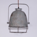 Industrial Pendant Light in Cage Style with Metal Shade in Grey