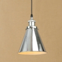 Vintage Pendant Light with Coolie Shade in Chrome