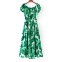 Fashion Leaves Printed Color Block Off the Shoulder Single Breasted Maxi Dress