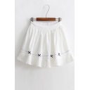 New Arrival Elastic Waist Lovely Bow Pattern Hem Mini A-Line Pleated Skirt