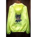 Lovely Cartoon Graphic Printed Back Zip Placket Hooded Sun-Proof Coat